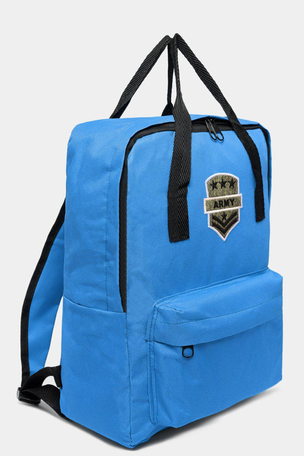 Light Blue Canvas Patched Multiwear Travel Backpack-SinglePrice