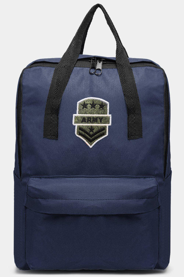 Navy Canvas Patched Multiwear Travel Backpack-SinglePrice