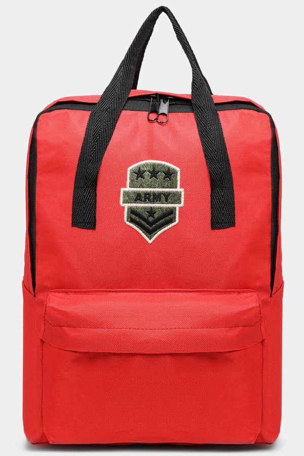 Red Canvas Patched Multiwear Travel Backpack-SinglePrice