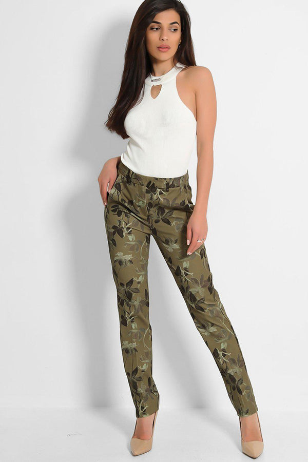 Khaki Floral Print Cigarette Office Trousers - SinglePrice