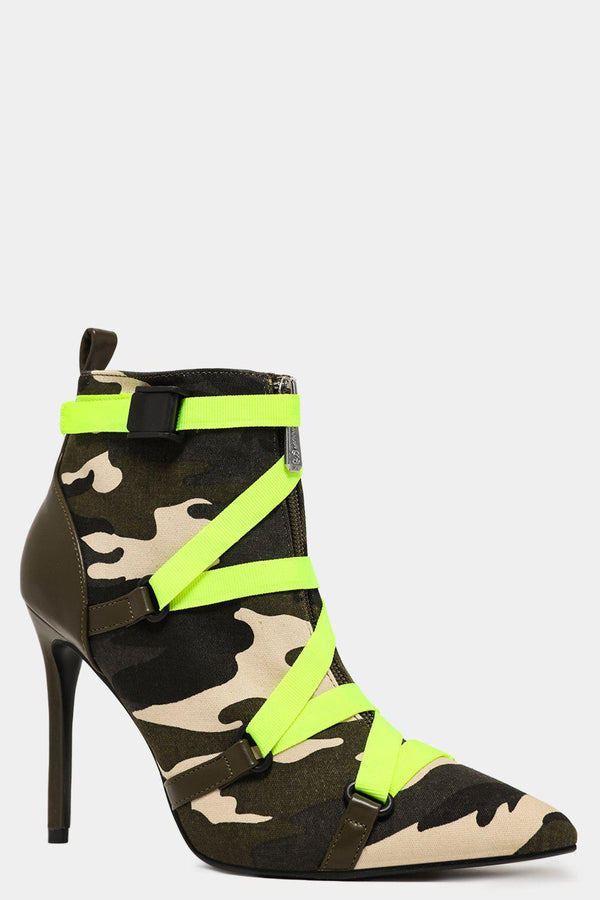 Camouflage Canvas Safety Belt Detail Stiletto Ankle Boots - SinglePrice