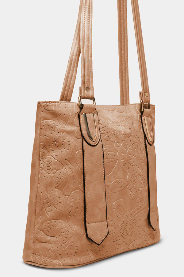 Apricot Flowers Embossed Vegan Leather Tote Bag - SinglePrice