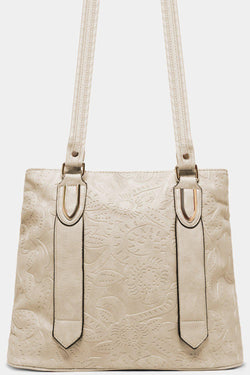 Off White Flowers Embossed Vegan Leather Tote Bag - SinglePrice