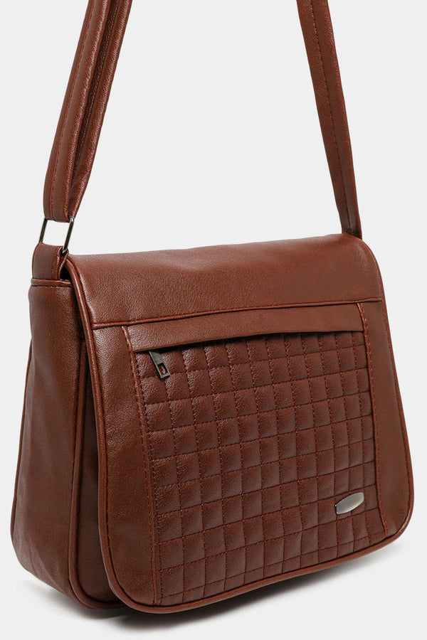 Brown Quilted Front Flap Vegan Leather Messenger Bag-SinglePrice