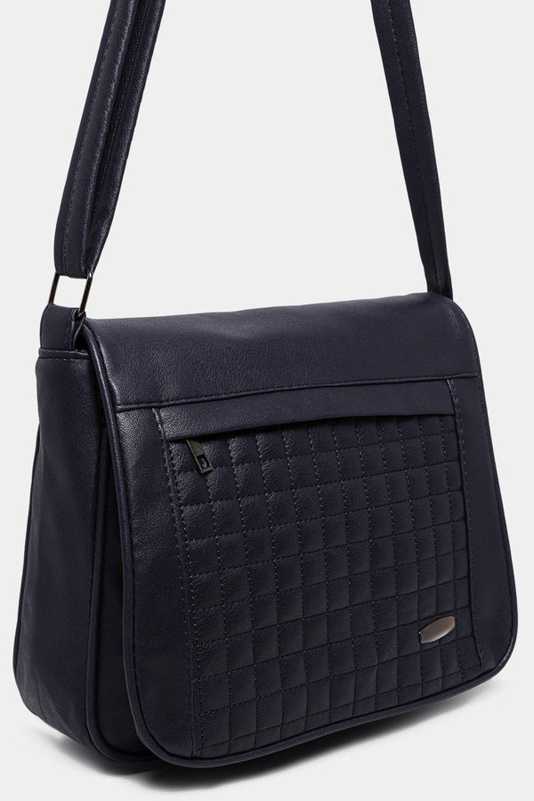 Navy Quilted Front Flap Vegan Leather Messenger Bag-SinglePrice