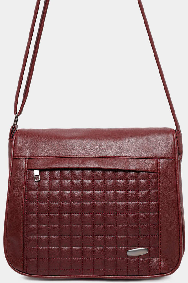 Burgundy Quilted Front Flap Vegan Leather Messenger Bag-SinglePrice