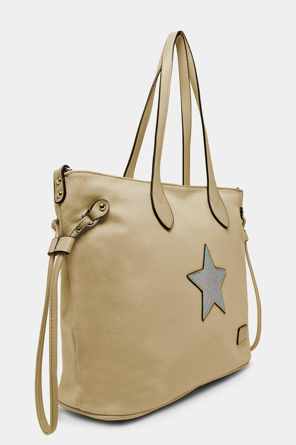 Apricot Glitter Star Canvas Large Tote Bag - SinglePrice