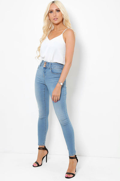 Gold Buttons High Waist Light Blue Skinny Jeans-SinglePrice