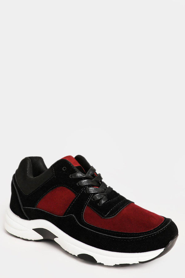 Wine Red Two Tone Vegan Suede Trainers - SinglePrice