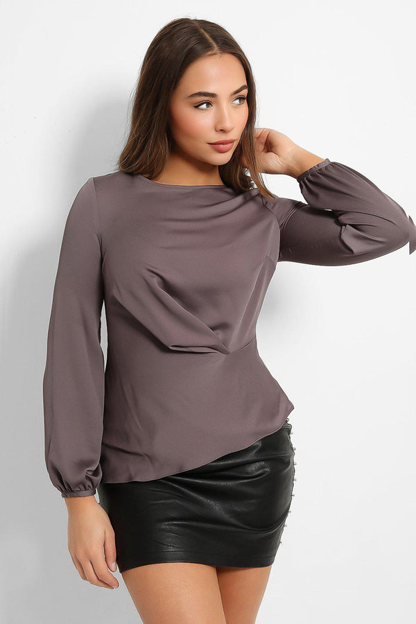 Dark Grey Ruched Side Blouse - SinglePrice