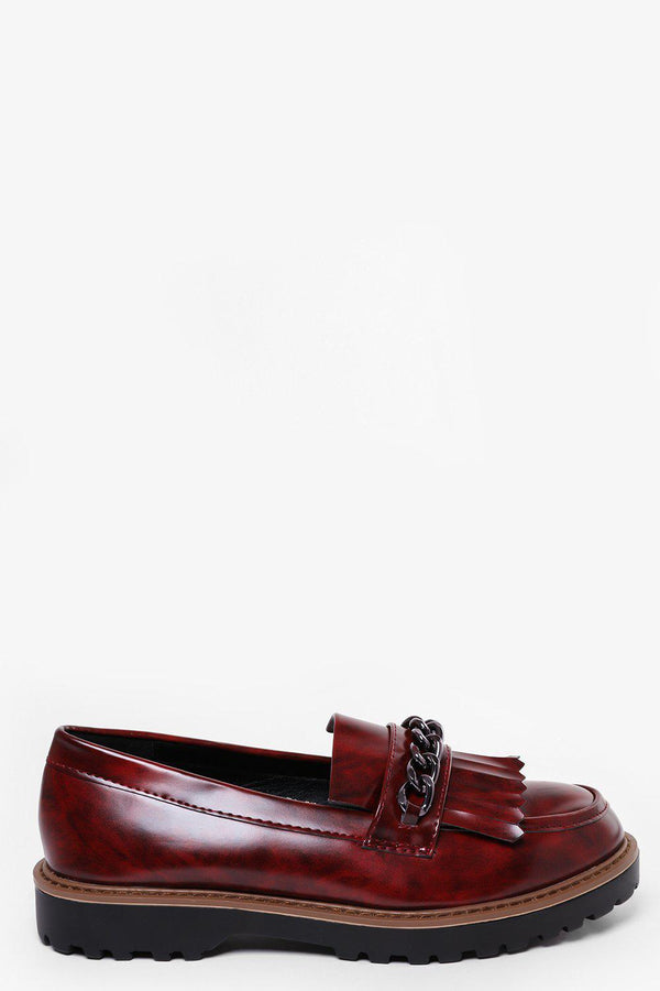Chain Detain Patent Maroon Loafers-SinglePrice