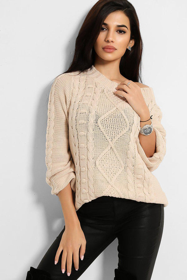 Beige Braided Knit Wide Neck Pullover - SinglePrice