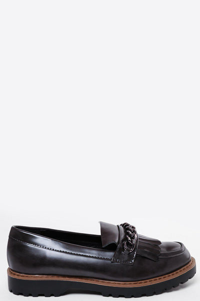 Chain Detain Patent Grey Loafers-SinglePrice