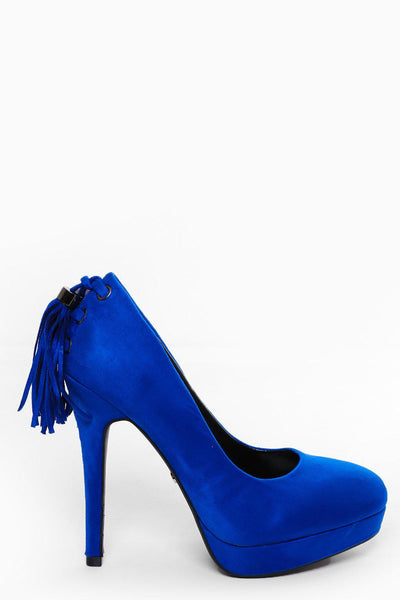 Tasselled Back Blue High Heels-SinglePrice