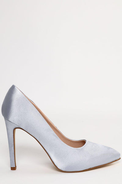 Blue Silver Satin Stiletto Court Shoes-SinglePrice