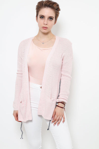 Cable Tie Light Pink Cardigan-SinglePrice