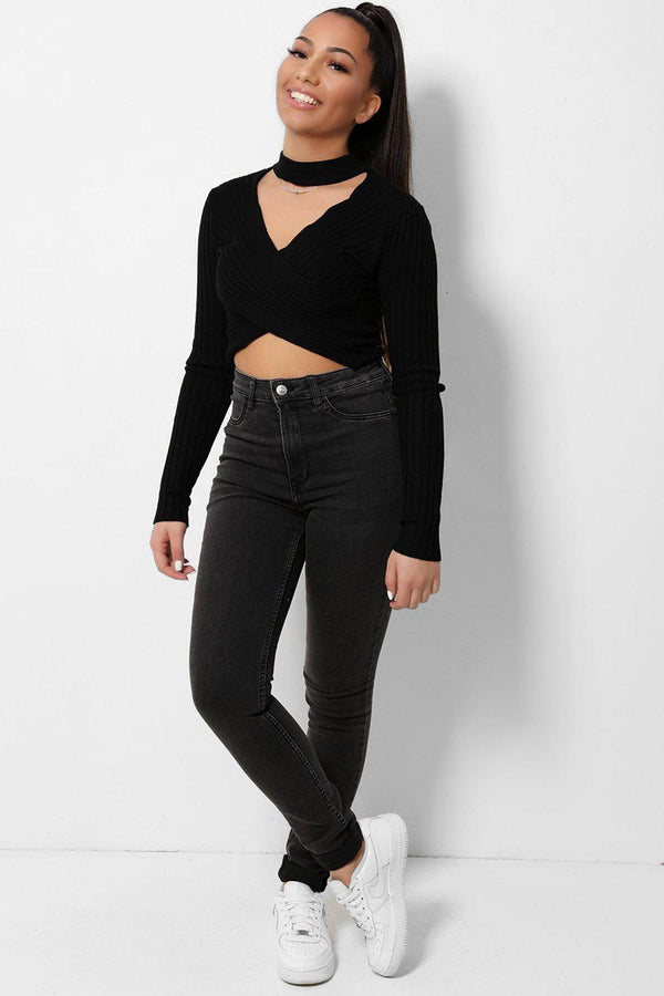 High Waisted Charcoal Denim Skinny Denim Jeans - SinglePrice