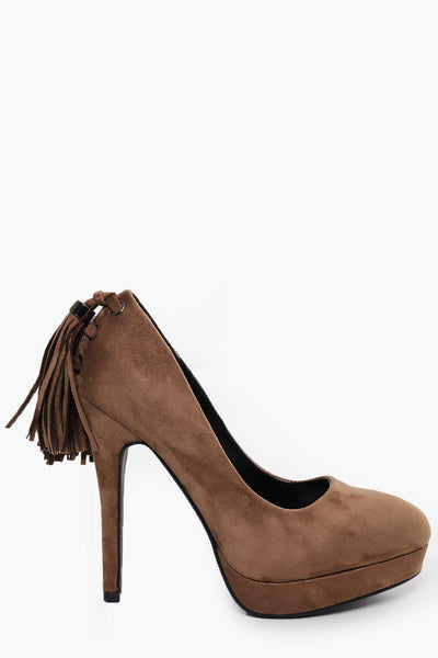 Tasselled Back Khaki High Heels-SinglePrice