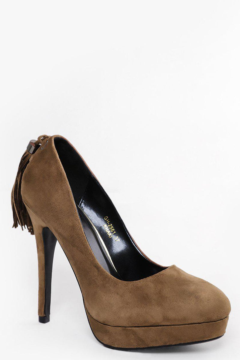 Tasselled Back Khaki High Heels - SinglePrice