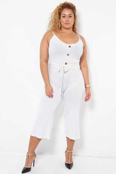 Waist Tie White Ribbed Jersey Cropped Jumpsuit-SinglePrice