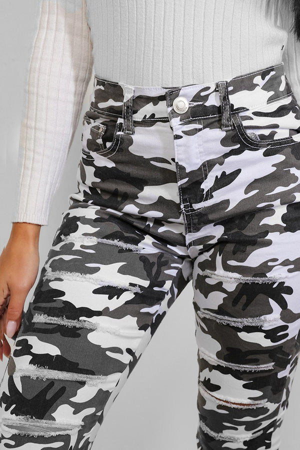 White Camouflage Print Distressed Skinny Jeans - SinglePrice