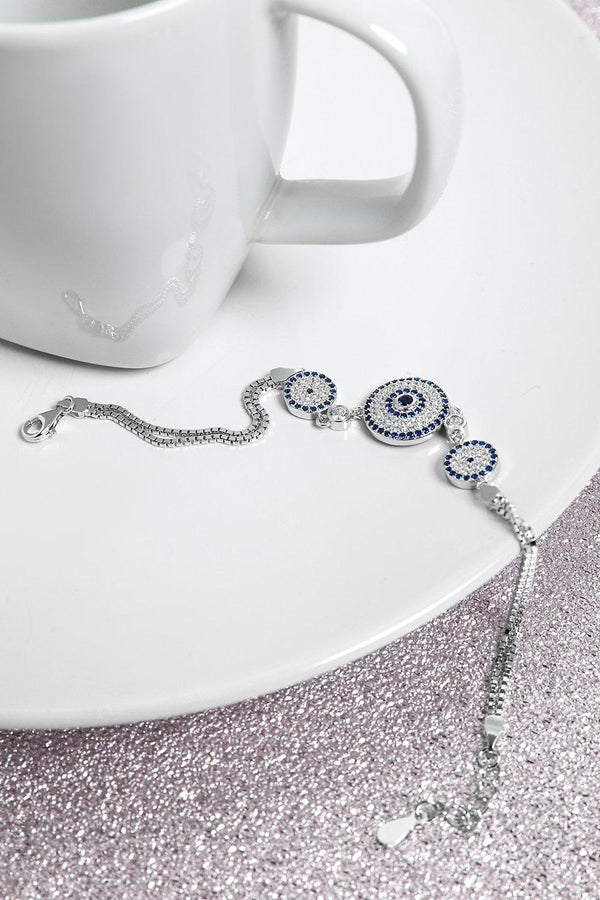 Silver 925 Three Blue CZ Encrusted Circles Bracelet-SinglePrice