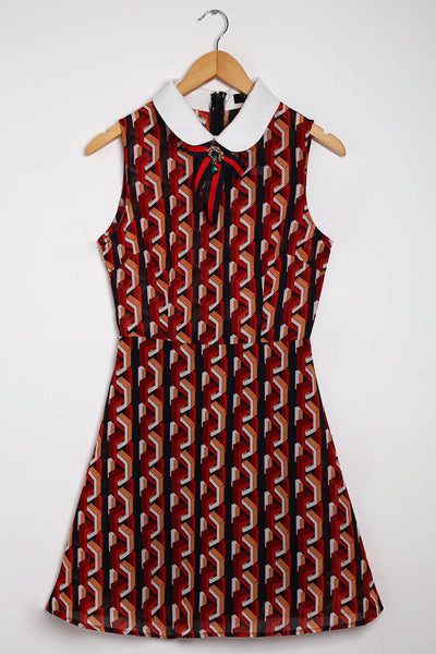Geometric Pattern Brooch Detail Dress-SinglePrice