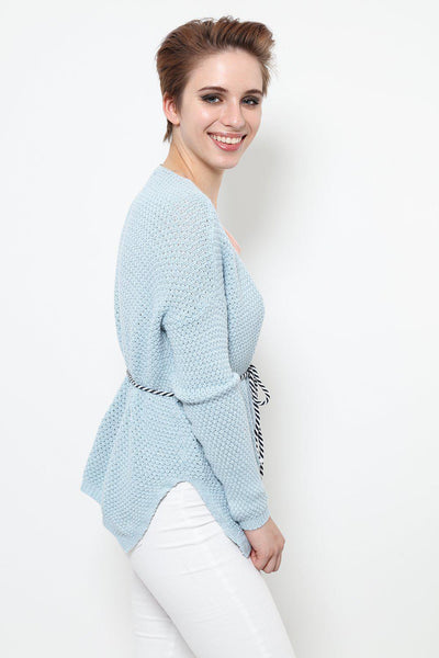 Cable Tie Blue Cardigan-SinglePrice