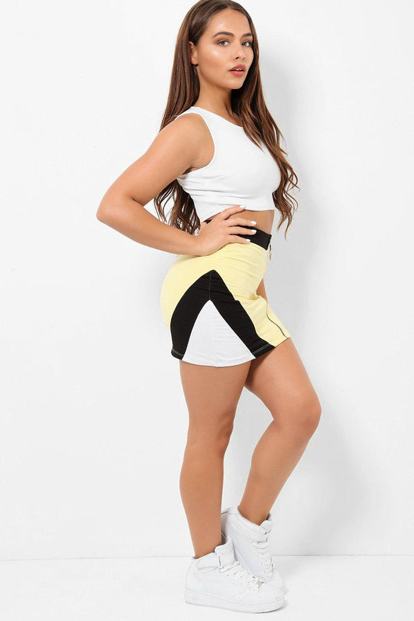 Zipped Front Panelled Yellow Mini Skirt-SinglePrice