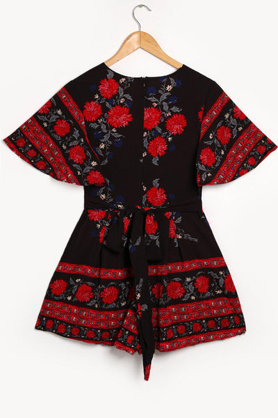 Red Flower Print V-Neck Black Playsuit-SinglePrice