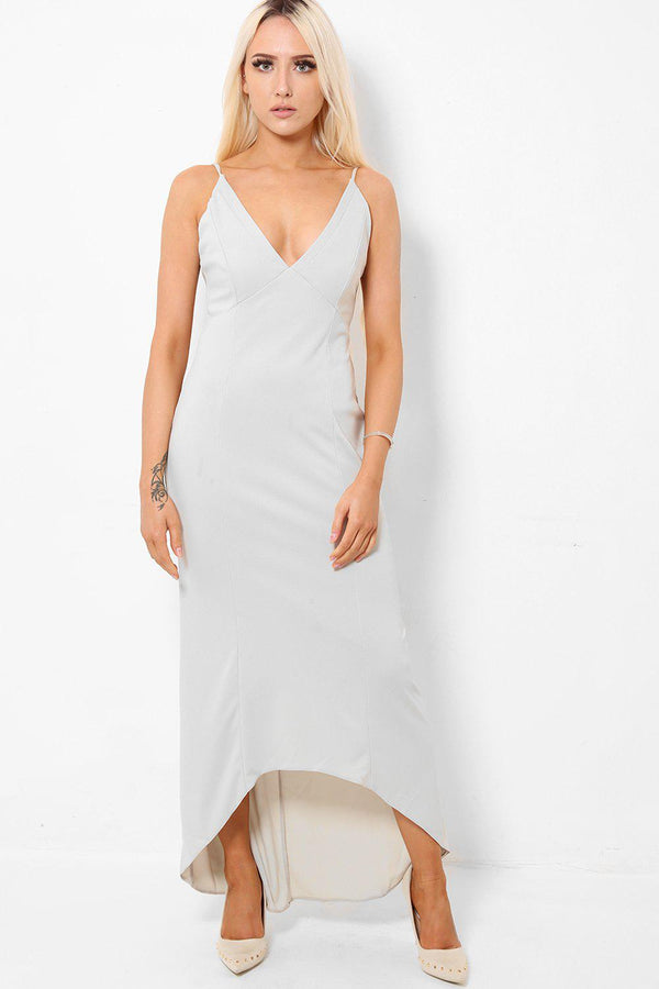 Dip Hem Light Grey Maxi Dress - SinglePrice