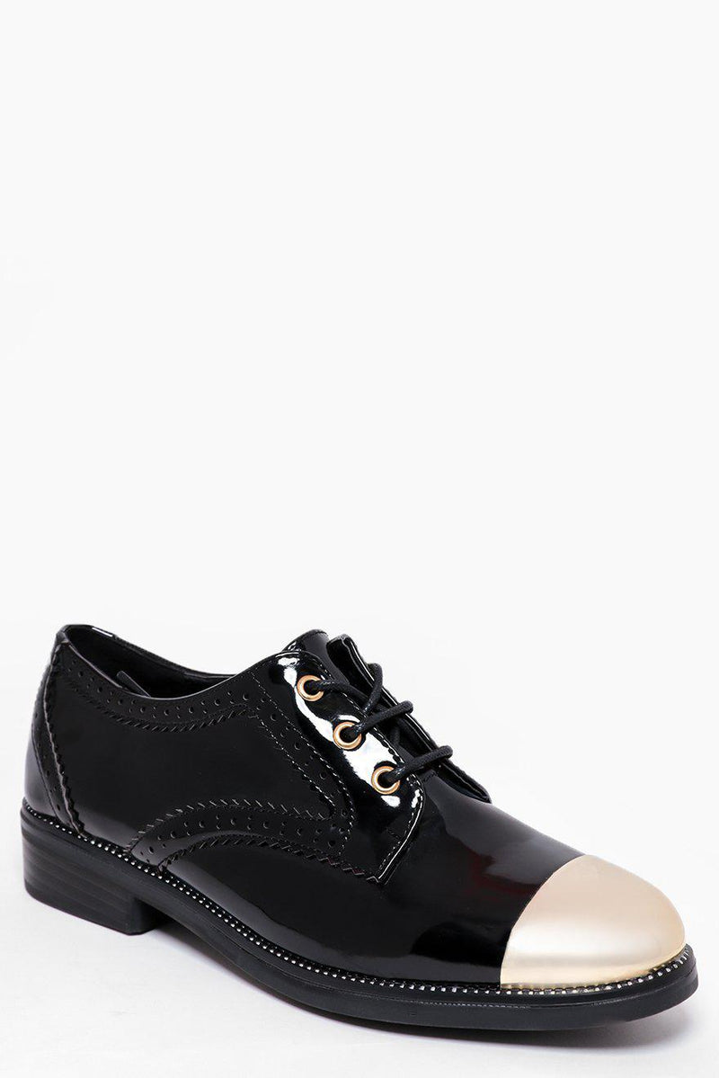 Gold Toe Cap Black Patent Brogues - SinglePrice