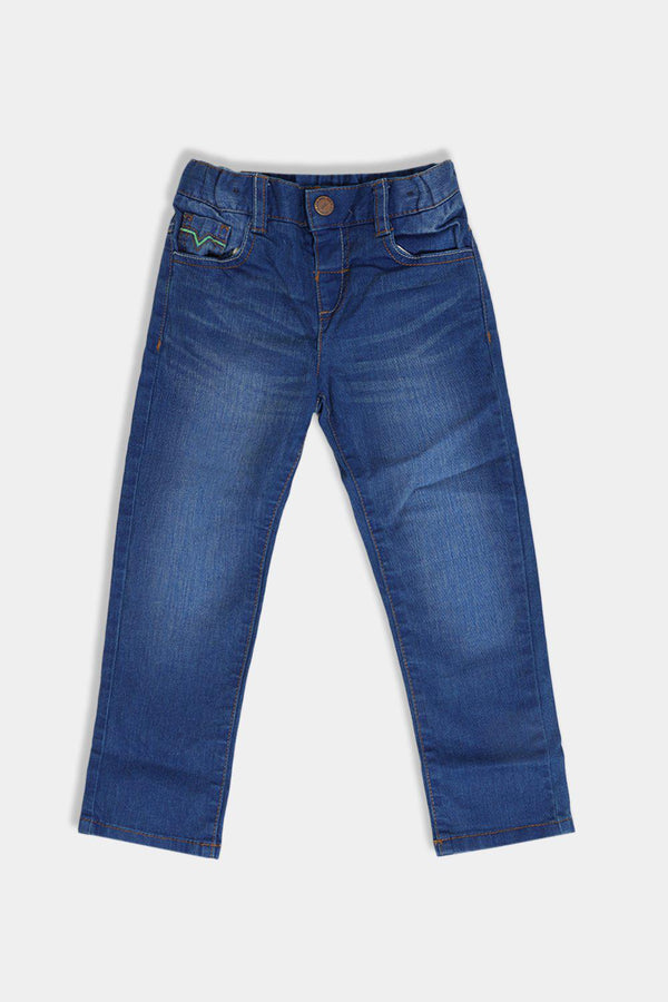 Blue Colourful Stitch Details Kids Jeans - SinglePrice