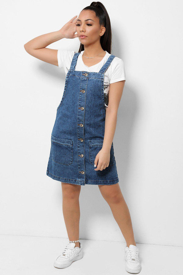 Blue Denim Button Front Cotton Pinafore Dress - SinglePrice