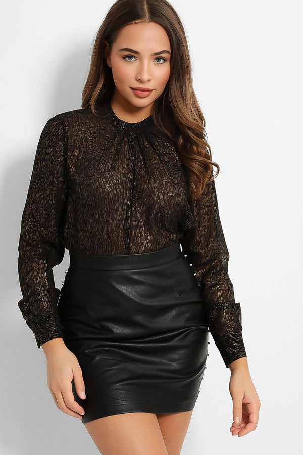 Black Gold Semi Sheer Pleated Neck Blouse - SinglePrice