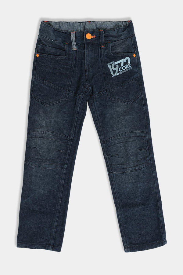 Dark Navy Orange Details Printed Kids Jeans - SinglePrice
