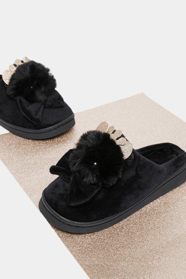 Black Faux Fur Royal Kitty Slippers-SinglePrice