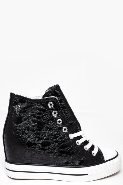 Black Crackled Leather Effect Hi Top Wedge Trainers-SinglePrice