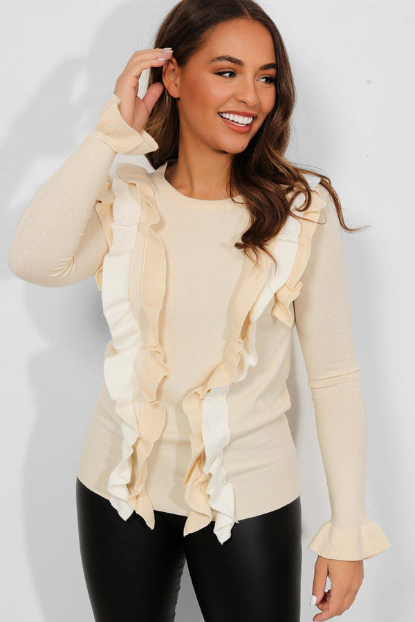 Beige Contrast Frill Details Flat Knit Pullover