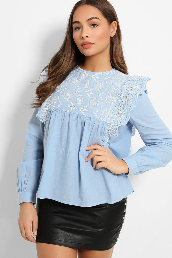 Blue Crochet Embroidery Details Top - SinglePrice