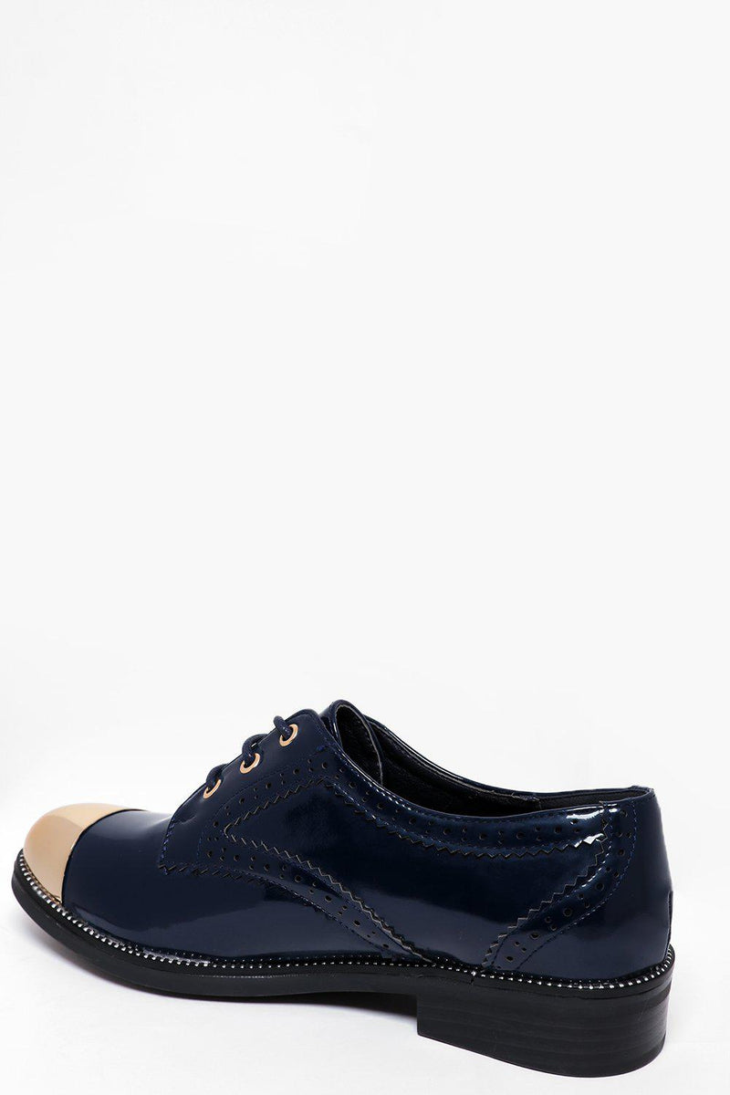 Gold Toe Cap Wine Patent Brogues - SinglePrice