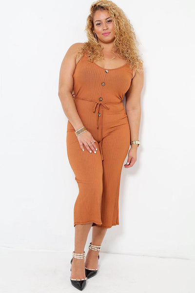 Waist Tie Brown Ribbed Jersey Cropped Jumpsuit-SinglePrice