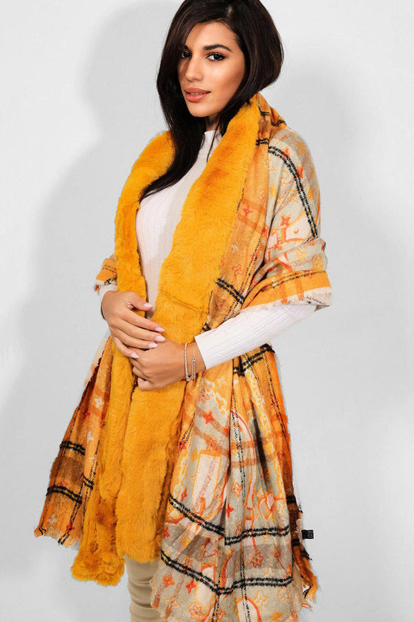 Mustard Faux Fur Trims Logotype Print Reversible Shawl - SinglePrice
