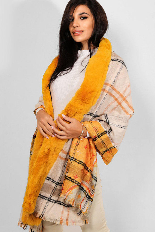 Mustard Faux Fur Trims Logotype Print Reversible Shawl-SinglePrice