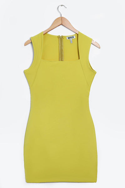 Dark Yellow Square Neckline Bodycon Dress-SinglePrice