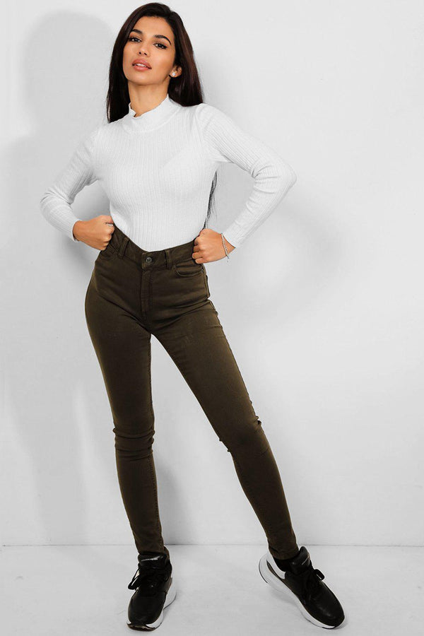 Khaki Stretchy Denim Skinny Fit Jeans