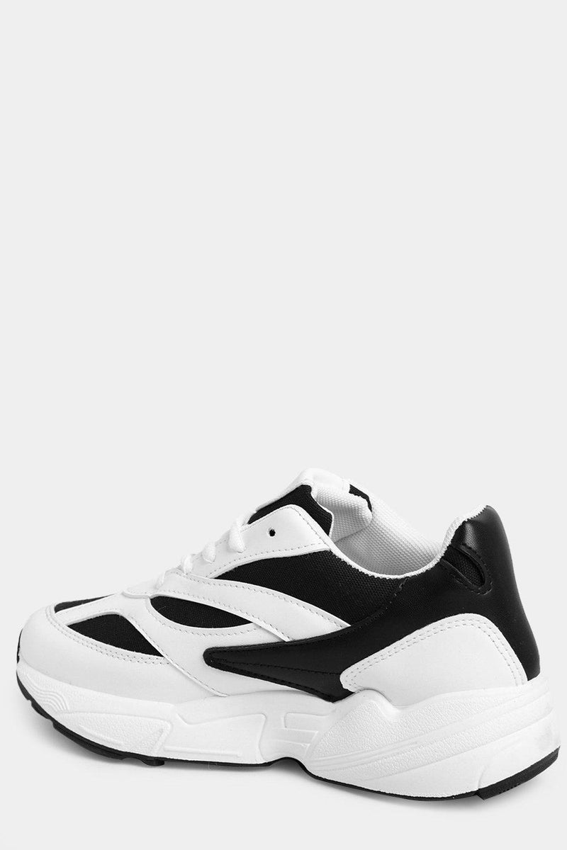 White Chunky Trainers With Black Mesh Inserts - SinglePrice