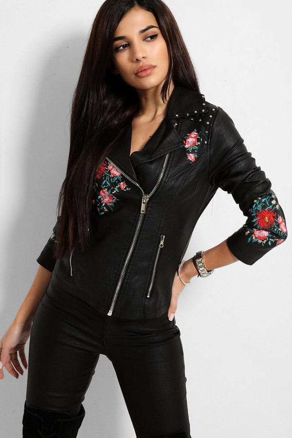 Black Floral Embroidery Vegan Leather Biker Jacket - SinglePrice