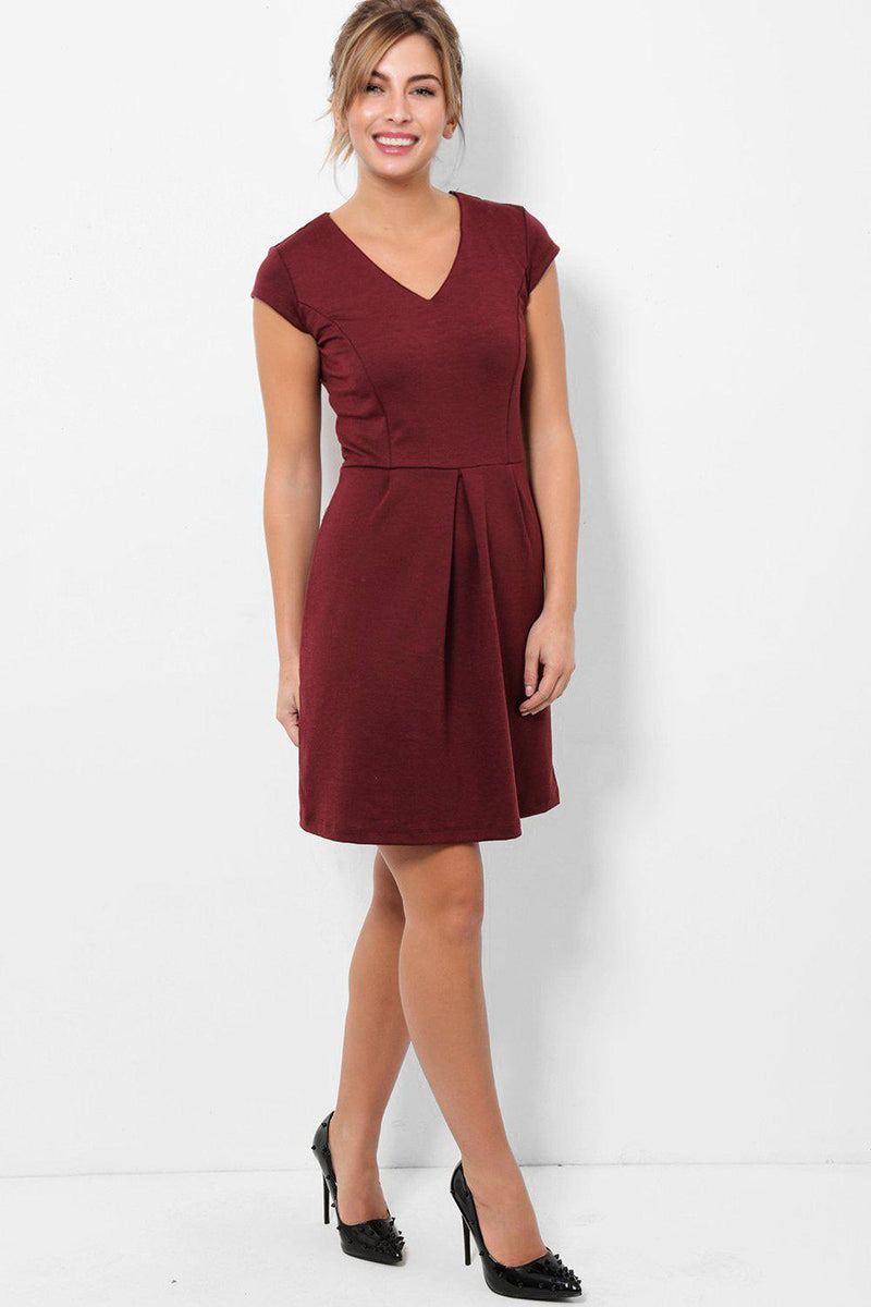 Burgundy V-Neck Skater Dress - SinglePrice