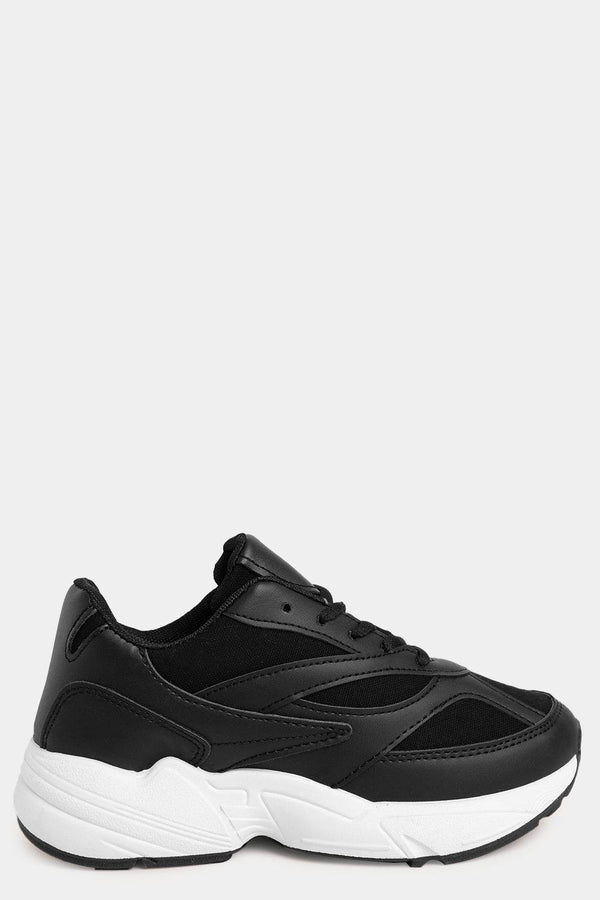 Black Chunky Trainers With Black Mesh Inserts-SinglePrice
